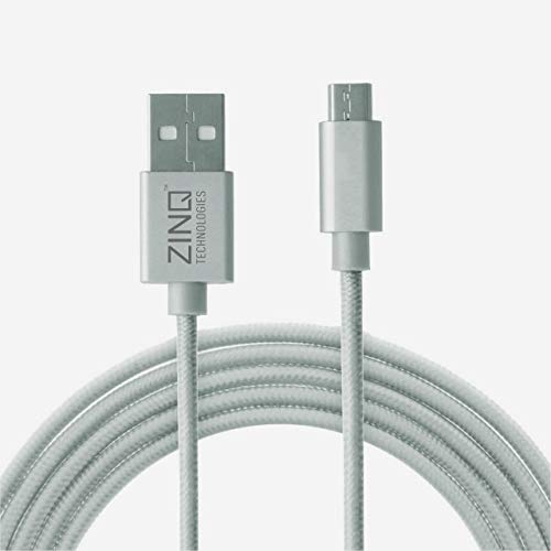 Zinq Technologies Nylon Braided Micro USB Cable - 4.9 Feet (1.5 Meters) - (Silver)