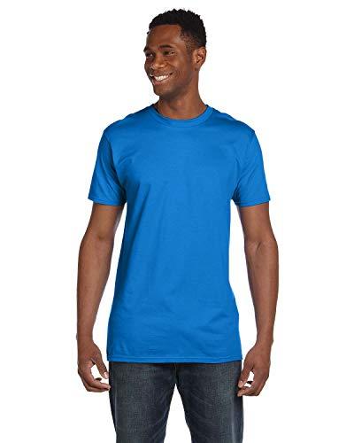 (Hanes 4.5 oz. 100% Ringspun Cotton Nano-T T-Shirt (4980) Blue Bell Breeze, XL)