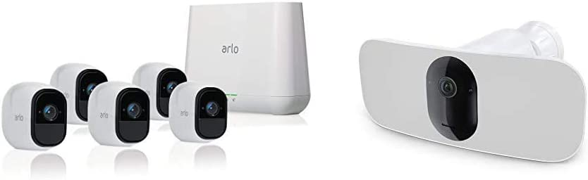 Arlo Pro - Wireless Home Security Camera System with Siren | Rechargeable, Night vision, Indoor/Outdoor, HD Video, 2-Way Audio, Wall Mount | Cloud Storage Included | 5 camera kit, Floodlight