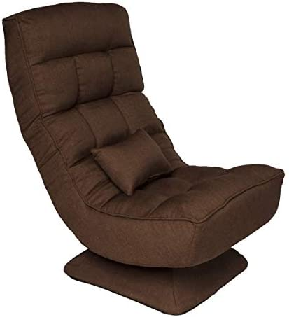 360-Degree Swivel Chair Floor Gaming Chair Lazy Sofa, 4 Adjustable Positions, 330-lb Support, Folded Gaming Chair with Comfortable Backrest and Massage Pillow for Office Home Brown
