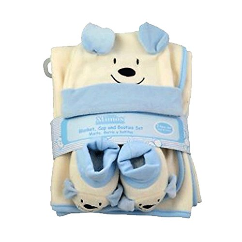 Little Mimos 3 Pcs Baby Set Blanket,Cap and Booties For Boys or For Girls,Polar Fleece 100% polyester (BABY SKY) 100% Polyester Polar Fleece