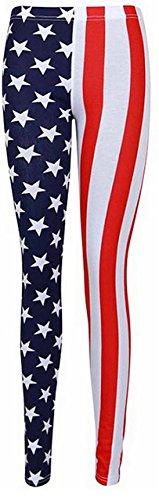 Fashion Oasis Big Girls' in Printed Union Jack USA Flag Patriotic Leggings 9-10 Years USA Leggings (Union Printed)