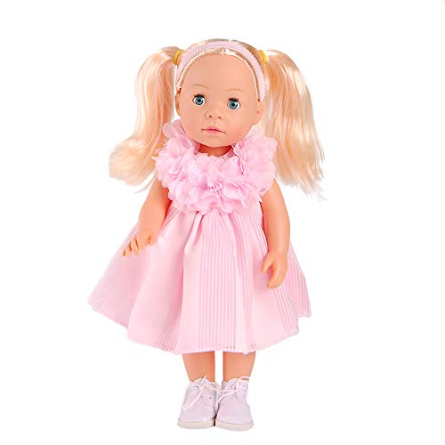 MeiMei 16 inch Girl Doll with Blond Hair Blue Eyes Full Vinyl Toy Gift for Kids Age 3+ ()