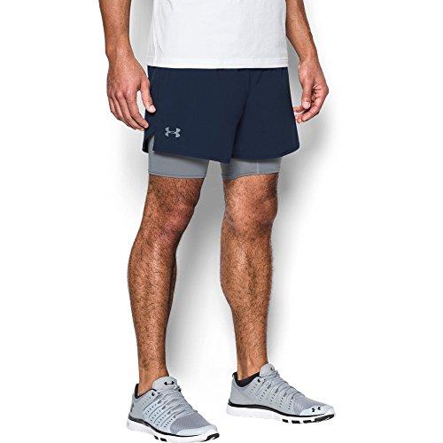 2 Under Mens Woven Shorts - Under Armour Men's Qualifier 2-in-1 Shorts, Midnight Navy (410)/Steel, X-Large