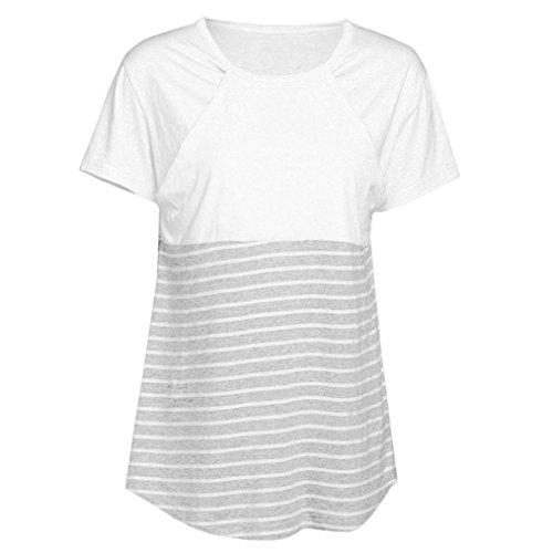 7730c050077 FAPIZI Women Pregnant Maternity Nursing Stripe Breastfeeding Tops T-Shirt  Blouse