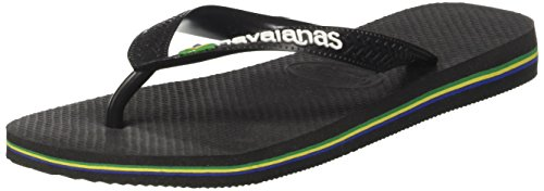 Havaianas Brasil Logo, Tongs Mixte Adulte Noir (Black/black)