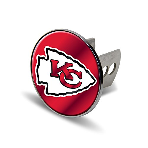 (Rico NFL Kansas City Chiefs Laser Cut Metal Hitch Cover, Large, Silver)