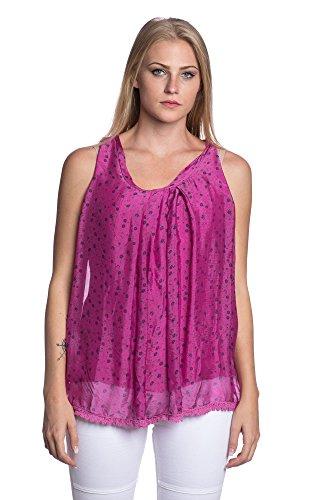 Abbino 8704-2 Top con Estampado de Flores para Müjer - Hecho en ITALIA - 5 Colores - Camisa Entretiempo Transición Primavera Verano Otoño Elegante Flexible Rebajas Joven Casual Dulce Moda Rosa Oscuro