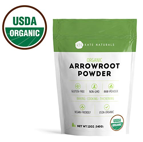 Arrowroot Flour Organic - Kate Naturals. Perfect For Baking, Cooking, Thickening Sauces and Gravy. Resealable Bag. Gluten-Free and Non-GMO. 1-Year Guarantee