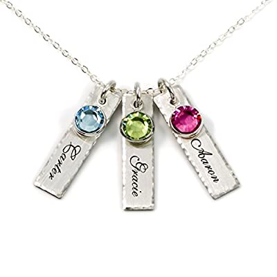 Unity in Three Personalized Charm Necklace. Customize 3 Sterling Silver Rectangular Pendants with Names of Your Choice. Choose Up to 3 Birthstones, and 925 Chain. Gifts for Her