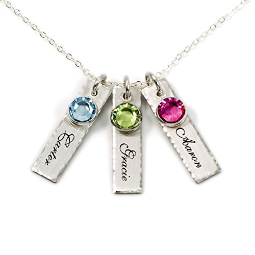 AJ's Collection Unity in Three Personalized Charm Necklace. Customize 3 Sterling Silver Rectangular Pendants with Names of Your Choice. Gifts for Her by AJ's Collection