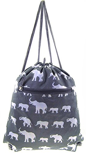 Cheap Grey Elephant Print Gym Sport Drawstring Bag Backpack Purse
