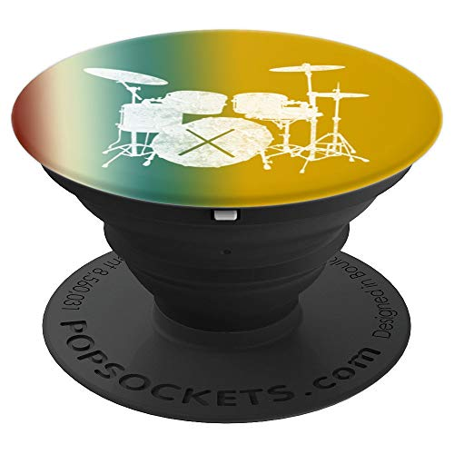 (Music Shirt Drum Set with Drum Sticks Silhouette - PopSockets Grip and Stand for Phones and Tablets )