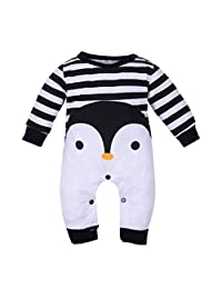 Staron Newborn Baby Pajamas Romper Outfits Infant Girl Boy Cartoon Penguins Jumpsuit