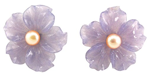 Simplicity Hand Carved Stone Flower Aventurine with Pearl 925 Silver Earrings