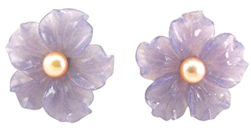 Hand Carved Stone Flower Aventurine with Pearl 925 Silver Earrings - Aventurine Pearl Earrings