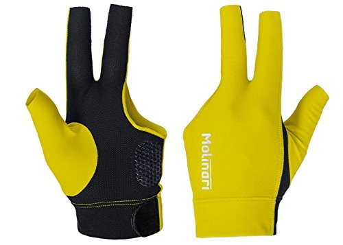 (Molinari® Fingerless Glove V2 Professional Billiard Accessories in Yellow/Black Color for Carom Pool LHP Left Handed Players)
