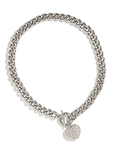 GUESS Factory Women's Silver-Tone Rhinestone Heart Necklace (Heart Toggle Chain Necklace)