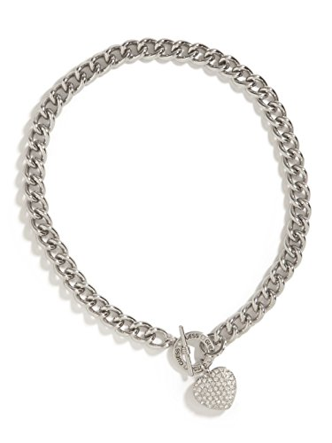 GUESS Factory Women's Silver-Tone Rhinestone Heart Necklace
