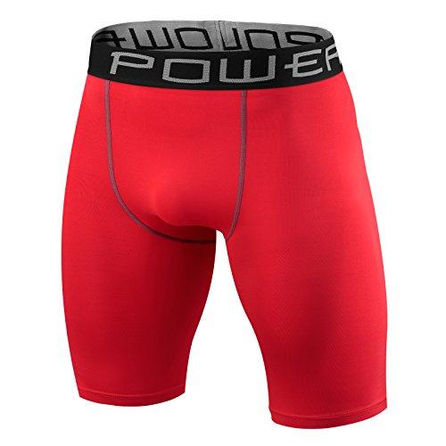 Herren Kind PowerLayer Funktionsunterwäsche Kompressionsshort Armour Compression Shorts Skins - Large Boy - Red