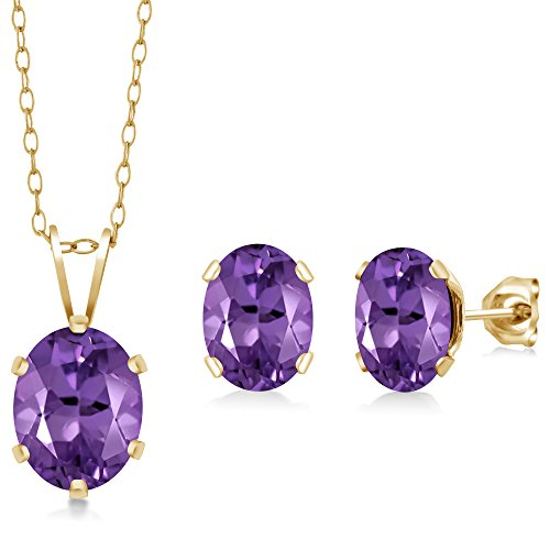 (2.60 Ct Oval Purple Amethyst Gold Plated Silver Pendant Earrings Set 18