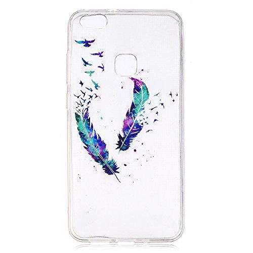 Funda para Huawei P10 Lite , IJIA Transparente Hermosas Rosas TPU Silicona Suave Cover Tapa Caso Parachoques Carcasa Cubierta para Huawei P10 Lite (5.2) FD1