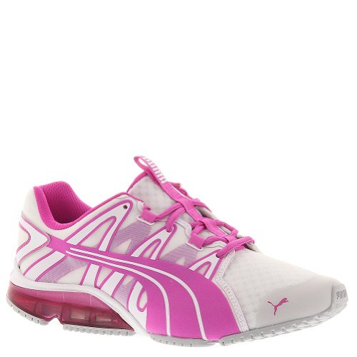 PUMA Women`s PowerTech Voltaic Clear Running Shoe White and Fluo Magenta-(887121