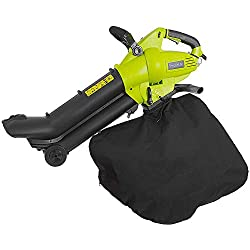 Electric Corded Blower Vacuum Shredder - 12 Amp Powered Motor 160 MPH 554 CFM Air Volume 3-in-1 Handheld Leaf Sweeper Vac Mulcher Tool w/Bag, 10ft Cord, Wheels, for Lawn Garden - SereneLife PSLHTM34