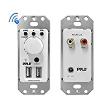 PYLE PWPBT67 In-Wall Bluetooth Audio Receiver, Dual USB Device Charger and Aux Input for Sound Systems