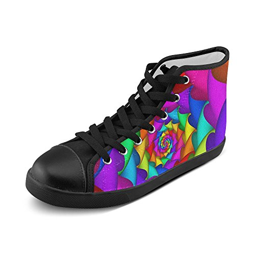 Artsadd Psychedelic Rainbow Spiral High Top Canvas Shoes For Women(Model002) Multi Color2 vK7wJva