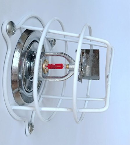 (4 Pack) White Cage Fire Sprinkler Head Guard for Both 1/2″ & 3/4″ Fire Head for Protecting Flush Mount & Side Wall & Pendent Head