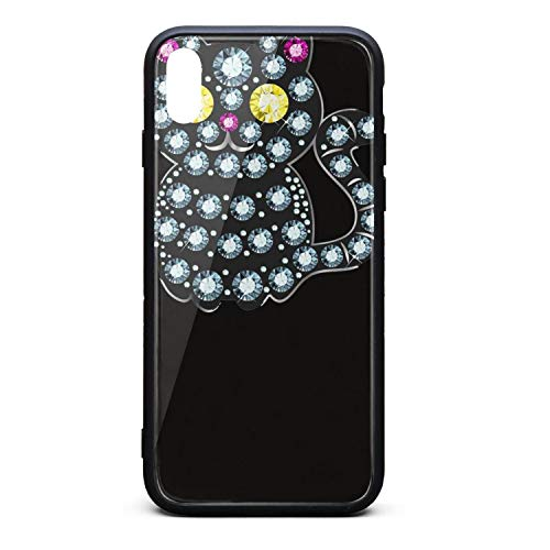 Custom Phone Case for iPhone Xs MAX Diamond Black Cat Rubber Frame Tempered Glass Covers Personality Shock-Absorption Skid-Proof Never Fade Mobile Cases Apple Fancy (Solitaire Frame Diamond)