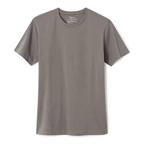 Organic Signatures Cotton T Shirt for Men, Crew Neck, Short Sleeve (Medium, Grey)