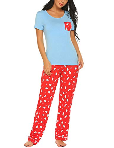 Ekouaer Women's Pjs Set with Capris Pants Print Sleepwear Plus Size, Light Blue, Large