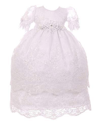 Price comparison product image Rain Kids Baby Girls White Puff Sleeve Bonnet 3 Pc Baptism Gown Set 12M