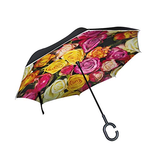Double Layer Inverted Roses Bouquet Of Roses Bouquet Flowers White Pink Umbrellas Reverse Folding Umbrella Windproof Uv Protection Big Straight Umbrella For Car Rain Outdoor With C-shaped Handle
