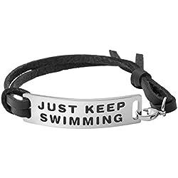 Yiyang Women Bracelet Leather for Memorial Breakup Divorce Motivation Gift Minimalist Jewelry Just Keep Swimming
