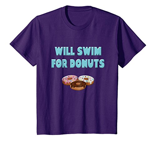 (Kids Will Swim For Donuts Funny Swim Sayings Shirts Swimmer Gifts 8 Purple)