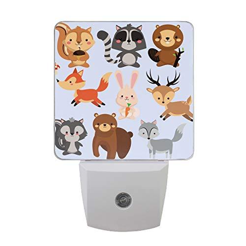 Night Light Lamp with Dusk to Dawn Sensor, Plug in, Squirrel Raccoon Beaver Fox Rabbit Reindeeer Led Night Light