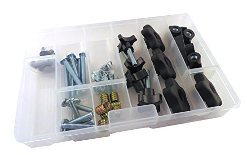 - 46 Piece Jig Fixture T Track Hardware Kit 5/16 18 Threads with Knobs, T Bolts, Threaded Inserts 48PJHK-5/16