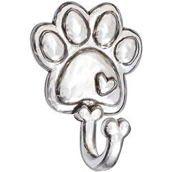 Rockin Doggie Pewter Leash Hook, Paw with Heart