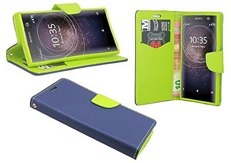 cofi1453 Elegante Buch-Tasche Hülle kompatibel mit Sony Xperia XA2 in Blau-Grün Leder Optik Wallet Book-Style Cover Schale