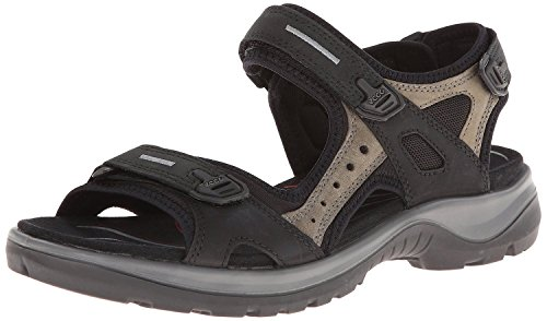 ECCO Women's Yucatan outdoor offroad hiking sandal, Black/Mole/Black, 7-7.5 M US