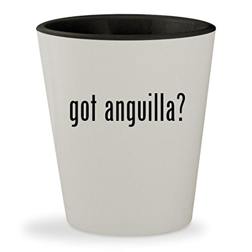 got anguilla? - White Outer & Black Inner Ceramic 1.5oz Shot Glass