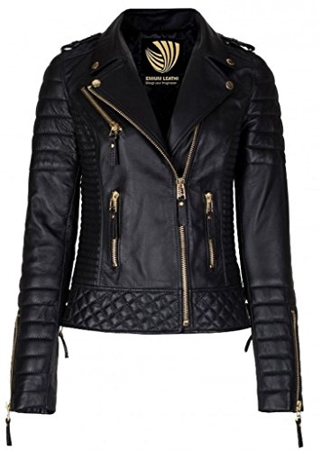 Exportica Leather Women's Lambskin Leather Motorcycle Biker jacket - (Lambskin Leather Jacket Coat)