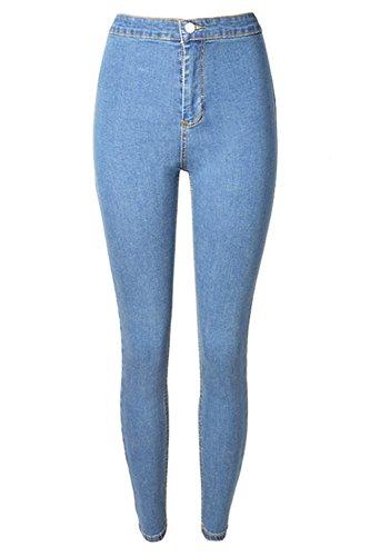 La Femme Est La Mi - Taille Extensible Long Denim Crayon Jean Pantalon Skinny LightBlue
