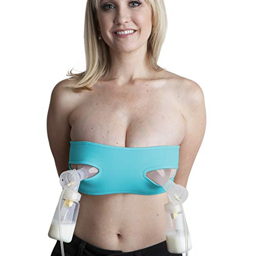 Pump Strap Hands-Free Pumping & Nursing Bra – Pump More in Less Time - Fits All Moms, Adjusts with Body (One Size, Cup A-DD, Turquoise)