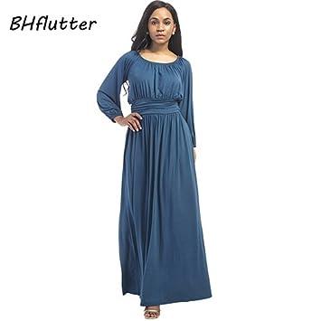 ASGHILL Boho tallas grandes vestido de manga larga de las mujeres vestidos de cintura alta Vestido