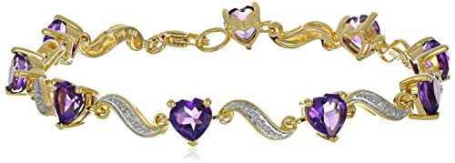 (Yellow Gold Flashed Sterling Silver Amethyst and Diamond Accent Heart Wave Bracelet, 7.25