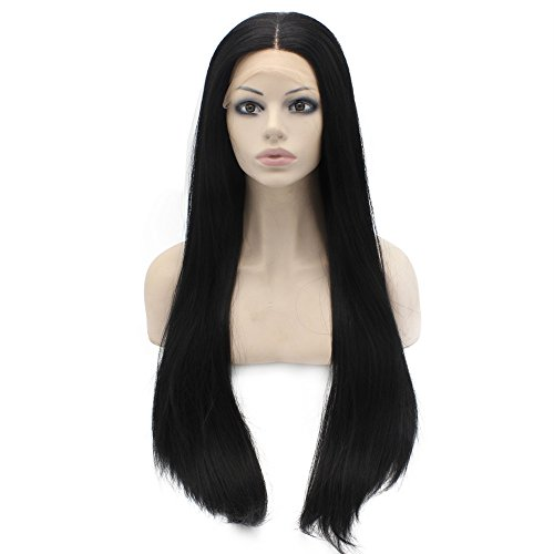 - Mxangel Long Straight Lace Front Synthetic Hair Black Wig Natural Hand Tied Heat Resistant Lace Wig